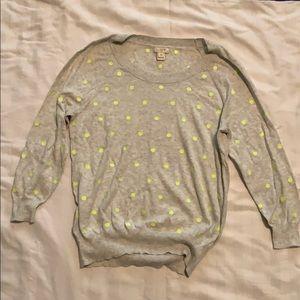 J Crew gray and yellow polka dot sweater